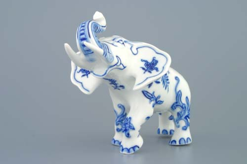 Cibulák slon II bohatá dekorace 18 cm originální cibulákový porcelán Dubí, cibulový vzor,