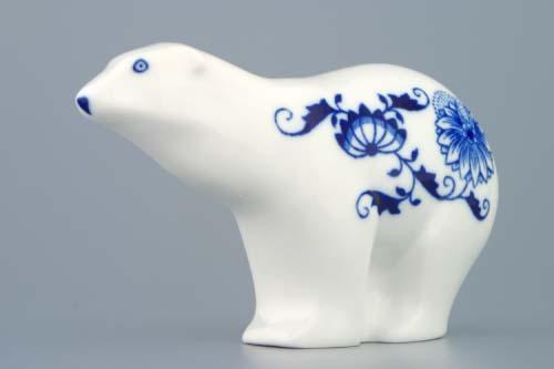 Cibulák medvídek 15 cm originální cibulákový porcelán Dubí, cibulový vzor,
