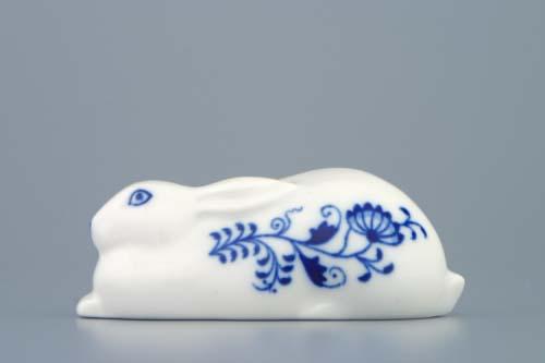 Cibulák zajíc ležící 10 cm originální cibulákový porcelán Dubí, cibulový vzor,