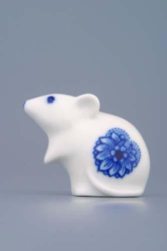 Cibulák myš 5 cm originální cibulákový porcelán Dubí, cibulový vzor,