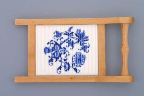 Cibulák valcha mini s dřevěným rámečkem 20 cm originální cibulákový porcelán Dubí, cibulový vzor,