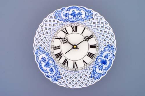Cibulák Hodiny prolamované se strojkem 24 cm originální cibulákový porcelán Dubí, cibulový vzor,