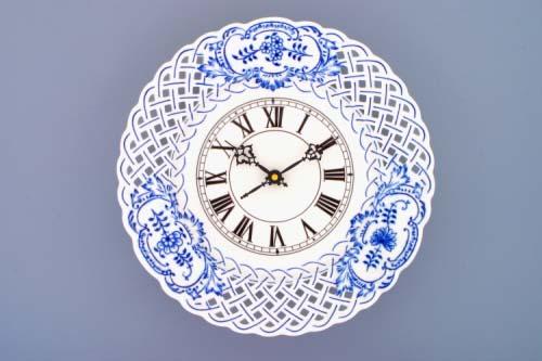 Cibulák Hodiny prolamované se strojkem 27 cm originální cibulákový porcelán Dubí, cibulový vzor,