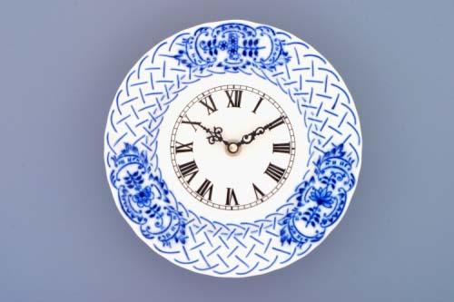 Cibulák Hodiny reliéfní se strojkem 18 cm originální cibulákový porcelán Dubí, cibulový vzor,
