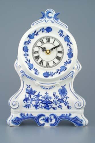 Cibulák Krbové hodiny bez růží se strojkem 28 cm originální cibulákový porcelán Dubí, cibulový vzor