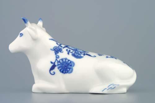 Cibulák kravička ležící 17 cm originální cibulákový porcelán Dubí, cibulový vzor,