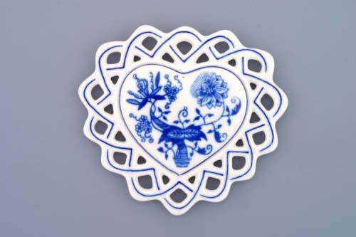 Cibulák Vánoční ozdoba srdíčko 10 cm originální cibulákový porcelán Dubí, cibulový vzor,