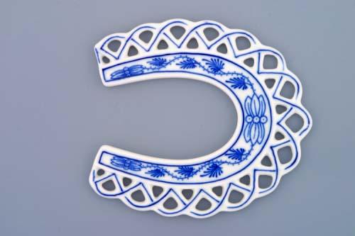 Cibulák Vánoční ozdoba podkova 10,5 cm originální cibulákový porcelán Dubí, cibulový vzor,