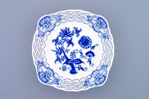 Cibulák Mísa čtyřhranná prolamovaná 17 cm originální cibulákový porcelán Dubí, cibulový vzor,