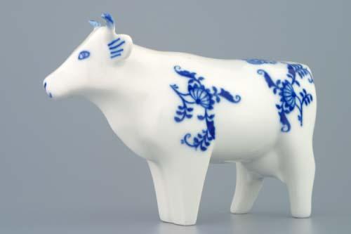 Cibulák kravička stojící 10 cm, originální cibulákový porcelán Dubí, cibulový vzor,