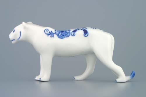 Cibulák Tygr 18 cm originální cibulákový porcelán Dubí, cibulový vzor,