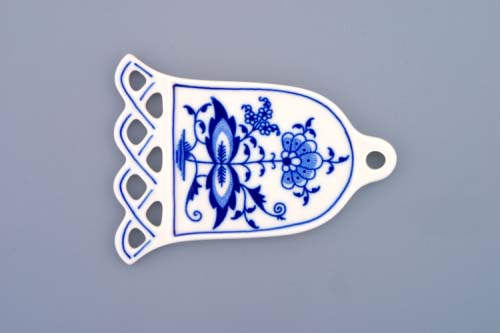 Cibulák vánoční ozdoba zvonek 10,5 cm originální cibulákový porcelán Dubí, cibulový vzor,