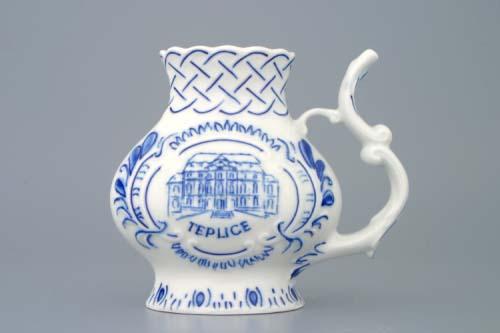 Cibulák pohárek lázeňský reliéfní Teplice 12 cm originální cibulákový porcelán Dubí, cibulový vzor,