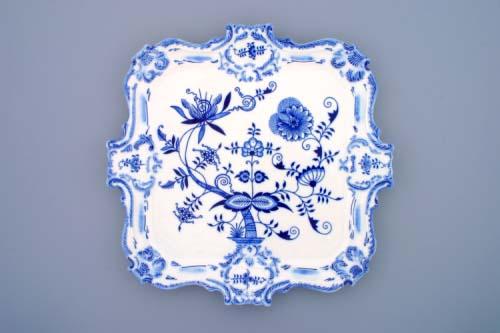 Cibulák podnos reliéfní 35 cm originální cibulákový porcelán Dubí, cibulový vzor,