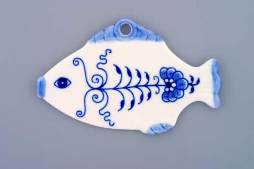 Cibulák vánoční ozdoba rybička 11 cm originální cibulákový porcelán Dubí, cibulový vzor