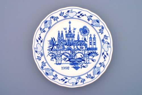 Cibulák talíř 24 cm 1992 výroční , originální cibulákový porcelán Dubí, cibulový vzor,
