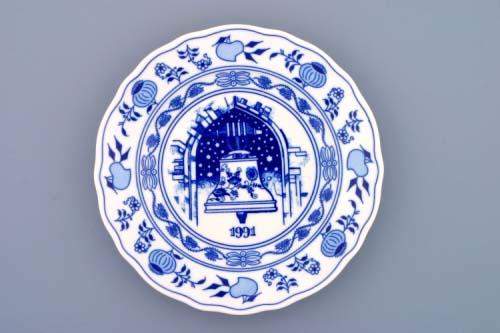 Cibulák talíř 1991 výroční 19 cm , originální cibulákový porcelán Dubí, cibulový vzor,