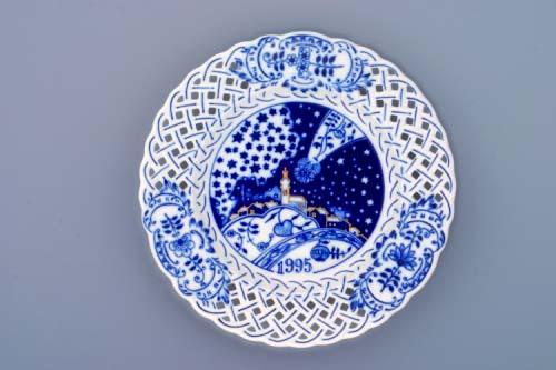 Cibulák Talíř výroční 1995, 18 cm originální cibulákový porcelán Dubí, cibulový vzor,