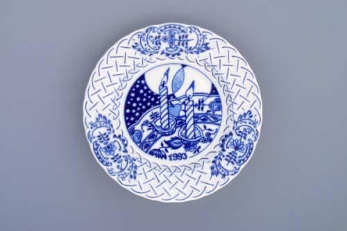 Cibulák Talíř výroční 1993 závěsný reliéfní 18 cm originální cibulákový porcelán Dubí, cibulový vzor,