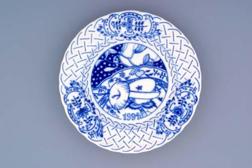 Cibulák Talíř výroční 1994 závěsný reliéfní 18 cm originální cibulákový porcelán Dubí, cibulový vzor,