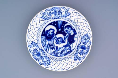 Cibulák Talíř výroční 1996 závěsný reliéfní 18 cm , originální cibulákový porcelán Dubí, cibulový vzor,