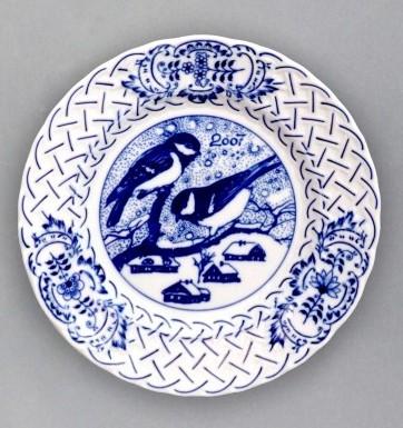 Cibulák Talíř výroční 2007 závěsný reliéfní 18 cm , originální cibulákový porcelán Dubí , cibulový vzor,