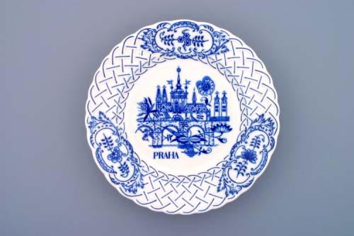 Cibulák Talíř závěsný reliéfní Praha 24 cm originální cibulákový porcelán Dubí, cibulový vzor,