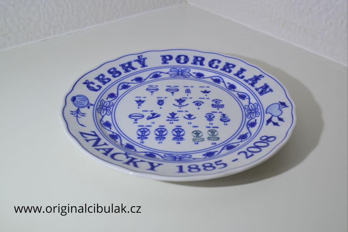 Cibulák Talíř s ochrannými značkami továrna Dubí originální cibulákový porcelán , cibulový vzor,