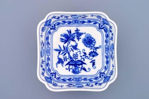 Cibulák Mísa salátová čtyřhranná vysoká, 15 cm originální cibulákový porcelán Dubí, cibulový vzor,