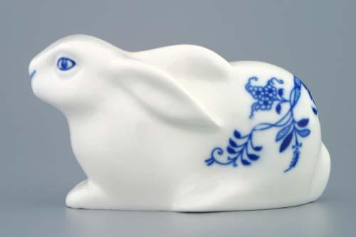 Cibulák zajíc velikonoční ležící 11,5 cm originální cibulákový porcelán Dubí, cibulový vzor,