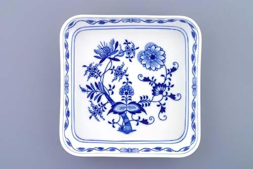 Cibulák Mísa salátová čtyřhranná hladká nízká 21 cm originální cibulákový porcelán Dubí, cibulový vzor,