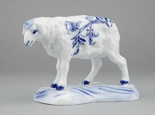Cibulák Ovce 6,5 cm originální cibulákový porcelán Dubí, cibulový vzor,