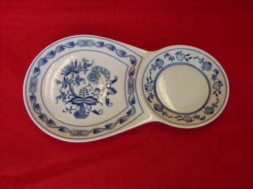 Cibulák Snídaňový tácek dvojitý 29,8 cm originální cibulákový porcelán Dubí, cibulový vzor,