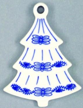 Cibulák Vánoční ozdoba stromeček 8,5 cm originální cibulákový porcelán Dubí, cibulový vzor, 1.jakost