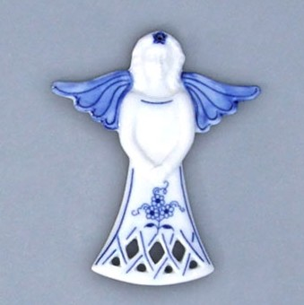 Cibulák Vánoční ozdoba anděl 11 cm originální cibulákový porcelán Dubí, cibulový vzor, 1.jakost