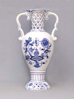Cibulák Váza 30 cm prolamovaná 566/1, originální cibulákový porcelán Dubí, cibulový vzor,