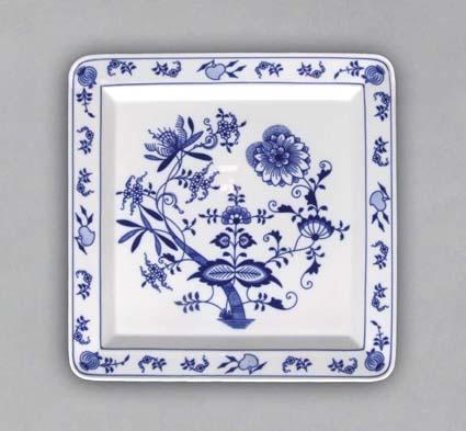 Cibulák talíř čtyřhranný 27,5 cm originální cibulákový porcelán Dubí, cibulový vzor,