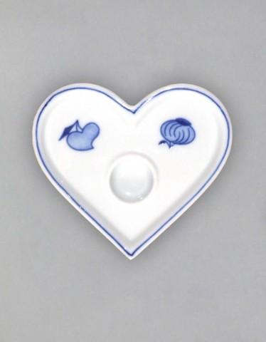 Cibulák Svícen plochý srdíčko 9,2 cm originální cibulákový porcelán Dubí, cibulový vzor,