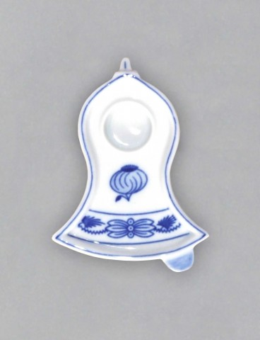 Cibulák Svícen plochý zvonek 8,7 cm originální cibulákový porcelán Dubí, cibulový vzor,