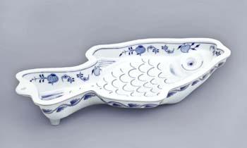 Cibulák Pečící forma kapr 37 cm originální cibulákový porcelán Dubí, cibulový vzor,