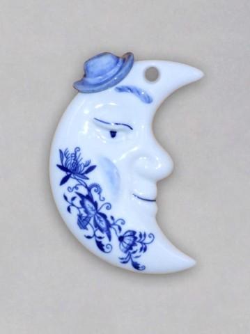 Cibulák Vánoční ozdoba měsíček oboustranný 9,5 cm originální cibulákový porcelán Dubí, cibulový vzor,