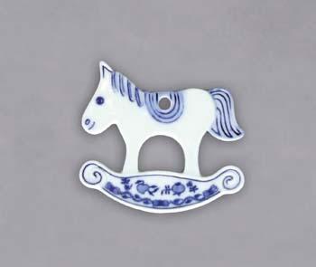 Cibulák Vánoční ozdoba houpací koník 9 cm originální cibulákový porcelán Dubí, cibulový vzor