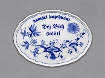 Cibulák Boží požehnání Dej bůh štěstí 24,5 cm originální cibulákový porcelán Dubí cibulový vzor