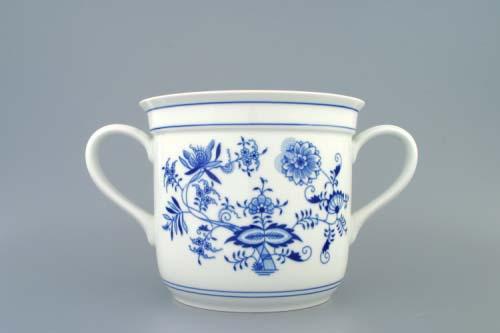 Cibulák hrnek Český s 2 uchy 3,0 l, originální cibulákový porcelán Dubí, cibulový vzor,