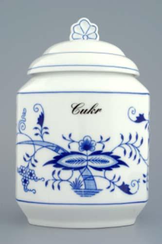 Cibulák dóza na poživatiny s víčkem a nápisem 1,1 l originální cibulákový porcelán Dubí, cibulový vzor,