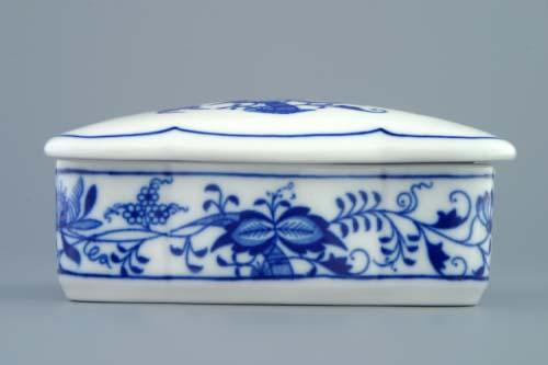 Cibulák Dóza na cigarety s víčkem 11,5 cm originální cibulákový porcelán Dubí, cibulový vzor