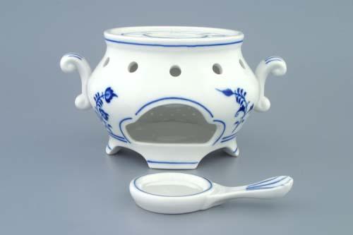 Cibulák Ohřívač komplet 14 cm originální cibulákový porcelán Dubí, cibulový vzor,