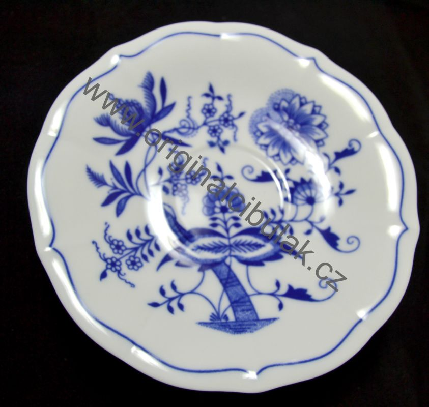 Cibulák Šálek + podšálek C/1+ZC1 (zrcadlový podšálek) čajový 0,20 l originální cibulákový porcelán Dubí, cibulový vzor