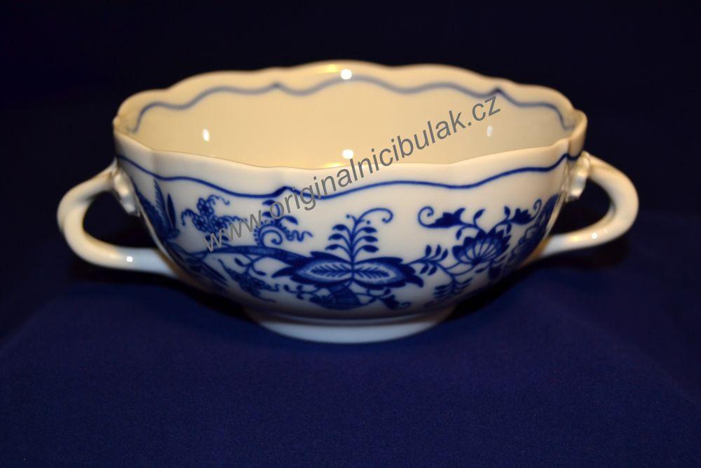 Cibulák šálek + podšálek bujón s 2 oušky 0,30 l originální cibulákový porcelán Dubí, cibulový vzor