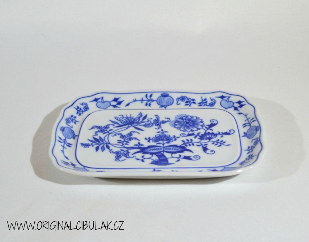 Cibulák Máslenka hranatá velká komplet 19 x 15 cm originální cibulákový porcelán Dubí, cibulový vzor,
